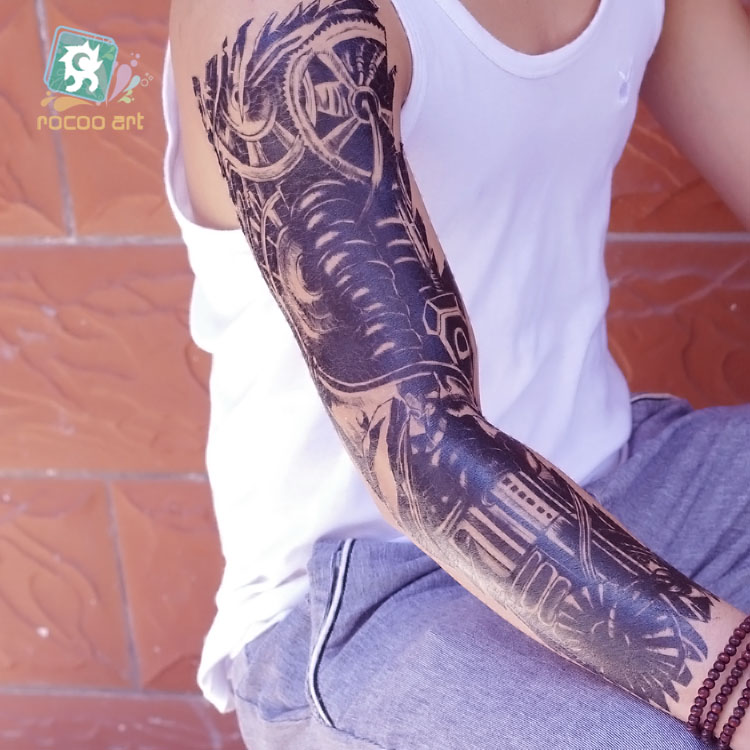 2019 Hot sale Super Big Temporary Tattoos Fake Blue Big Fish Skull Black and white Full Arm Body Waterproof Tatoo Sticker in Temporary Tattoos from Beauty Health