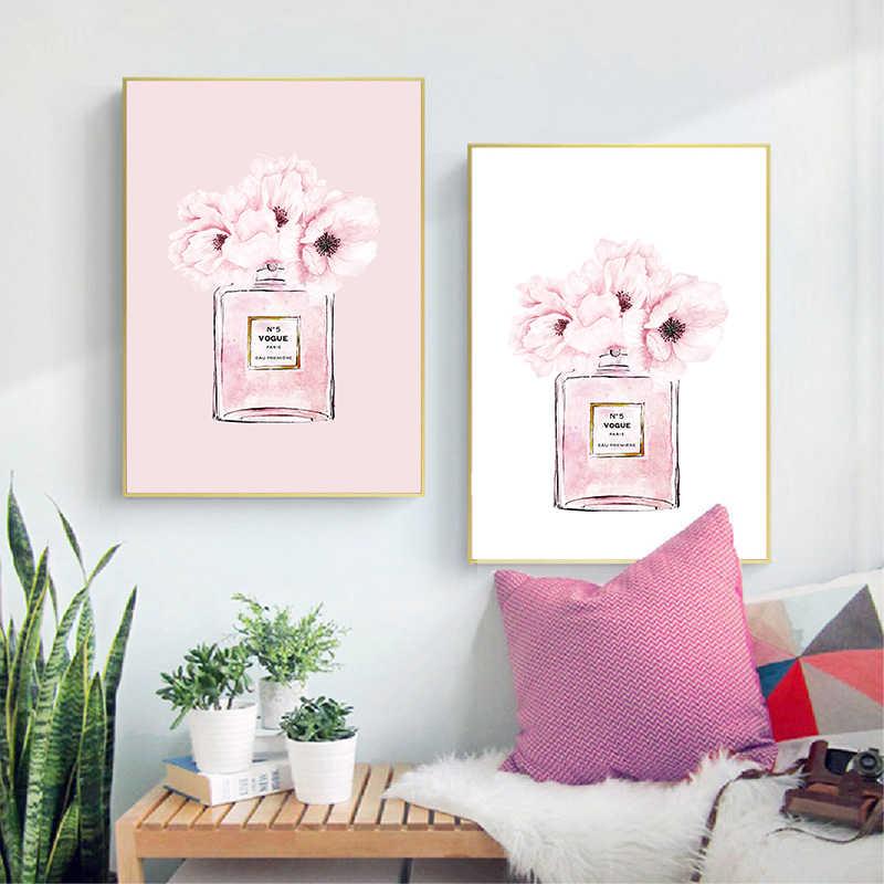Духи мода холст искусство печать и постер Современная Акварельная Румяна розовая картина с пионами настенные картины декор для гостиной