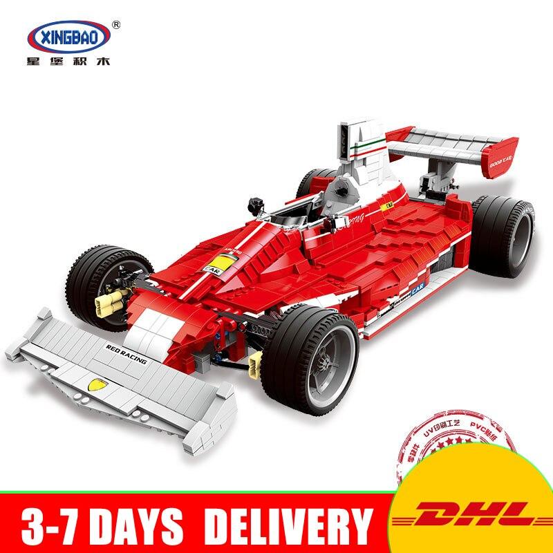 цена на Presale XINGBAO 03023 Genuine The Red Power Racing Car Set Self-Locking Building Blocks Bricks Model Toy Christmas Gift for Kids