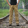Moda Militar Carga Calças Homens Soltos Baggy Calças Táticas Oustdoor Casual Algodão Carga Calças Dos Homens Multi-bolsos tamanho Grande