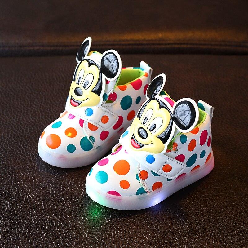 2018 ventes Chaudes LED cool bottes lumineux bébé lumineux sneakers bande dessinée drôle conception bébé chaussures Casual mignon filles garçons chaussures