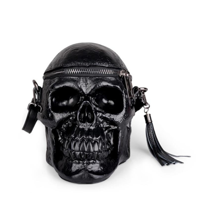 Gothic Skull Retro Rock Bag Crossbody Women Messenger Bag Leather PU Handbag Black Nightclub Tassel Lady Shoulder Package halloween skull printing women crossbody shoulder bag pu leather skull design women messenger bags handbag and purses