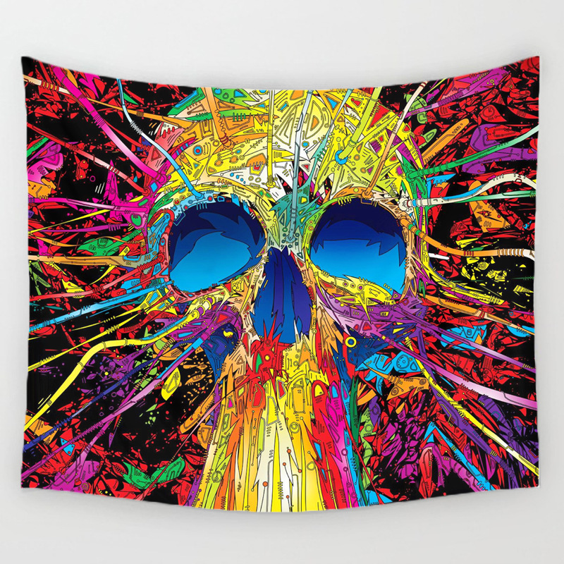 Halloween Skull Decorative Hanging Tapestry Festive Party Background Wall Decoration Colorful Anime Painted Beach <font><b>Towel</b></font>