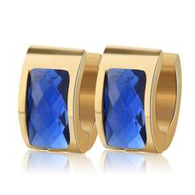Hot Trendy Luxury Crystal Earring Gold Color Stainless Steel Rould Hoop Earrings For Women and Men Fashion Pendientes Jewelry