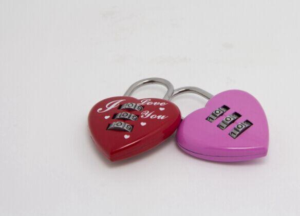 Hohe Qualität Gepäck Lock Herz Geformt Kawaii Rot Mini Rückstellbare 3 Ziffern Gepäck Koffer Vorhängeschloss Codiert Lock Reise-accessoires