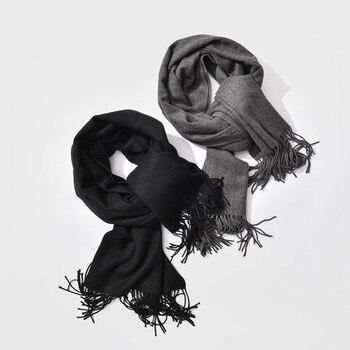 2019 جديد حار بيع الرجال وشاح للجنسين الأوشحة الدافئة سميكة الشتاء الكشمير وشاح الأوشحة طبيعة العمل الأسود والرمادي شهم 1