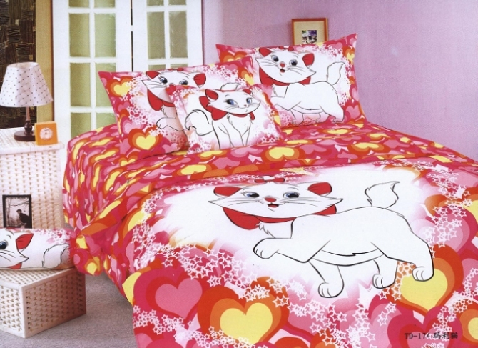 pink marie cat print bedding single twin size bed duvet covers sets bedclothes kids girl ...