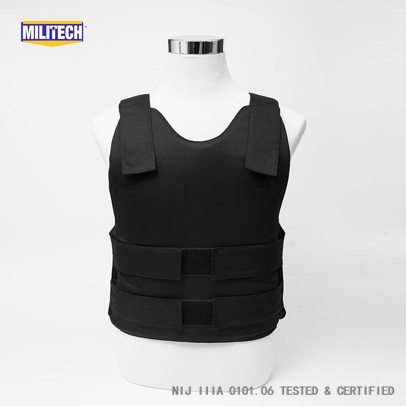 Militech Black NIJ IIIA 3A and Level 2 Stab Concealable Twaron Aramid Bulletproof Vest Covert Ballistic