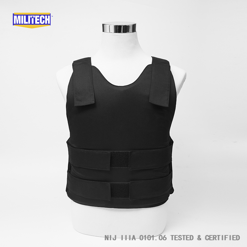 Militech Black NIJ IIIA 3A and Level 2 Stab Concealable Twaron Aramid Bulletproof Vest Covert Ballistic Bullet Proof Vest bulletproof vest military tactical army concealable bullet proof bullet proof vest chaleco antibalas low profile body armor