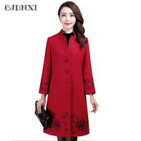 Oversized Long Wool Coat Overcoat Women Embroidery Cashmere Ladies Coats Large Size Loose Long Sleeves Winter Black red Jacket