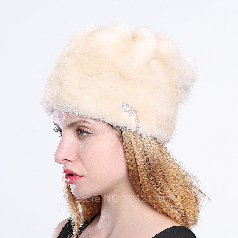 New winter parent-child girl women children lady kids Mink fur hat warm Rhinestone real genuine mink fur hats basin caps foreign trade explosion models in europe and america in winter knit hat fashion warm mink mink hat lady ear cap dhy 36