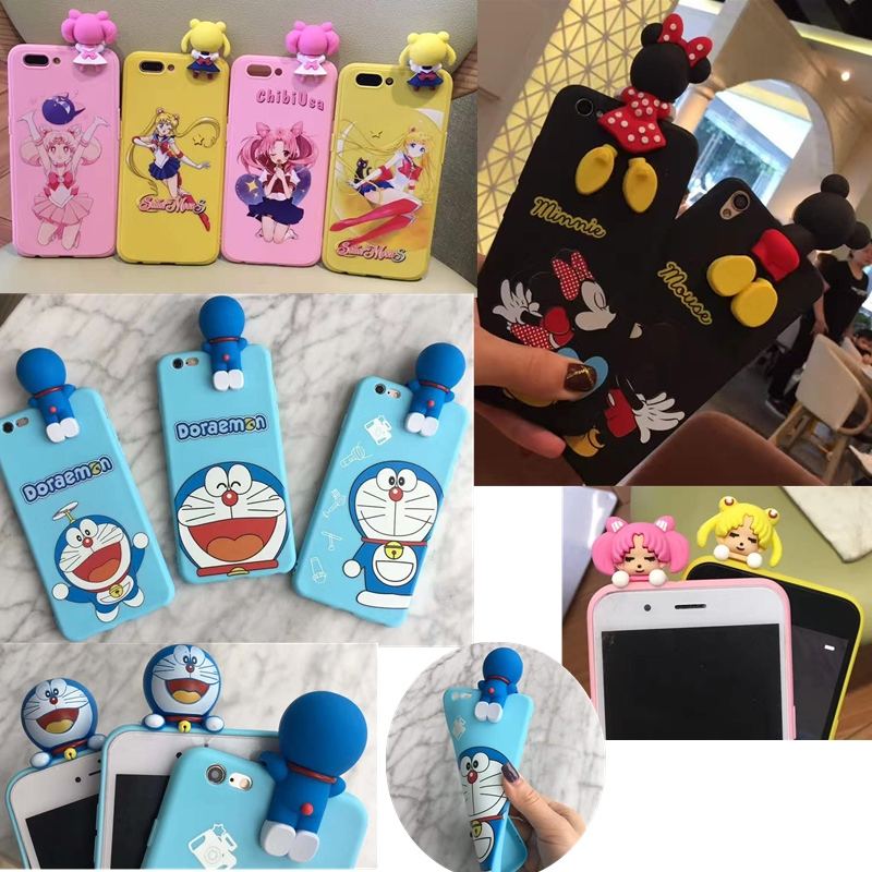 Cute 3D Cartoon Phone Case For VIVO X7 X7Plus X9 X9Plus Y66 Y67 Doraemon Sailor Moon Minnie Mickey Mouse Silicone back Cover