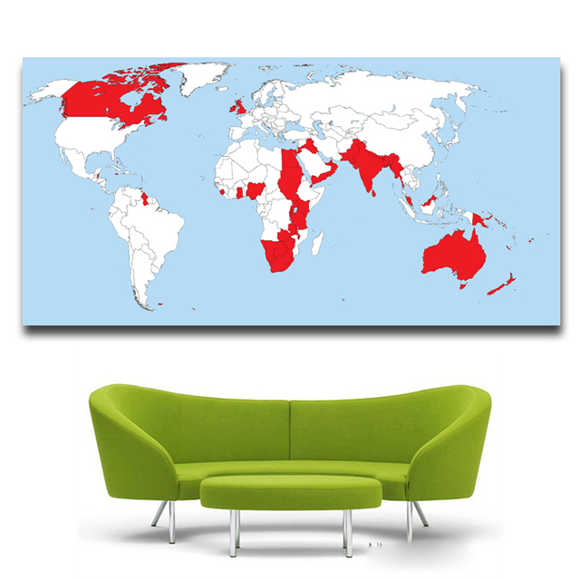 Mordern red white classic world map for poster decorative painting mordern red white classic world map for poster decorative painting core british empire prints oil paintings gumiabroncs Gallery