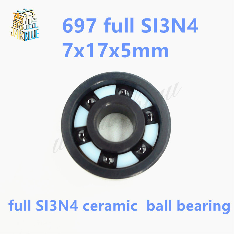 Free shipping 697 full SI3N4 ceramic deep groove ball bearing 7x17x5mm free shipping 6806 full si3n4 p5 abec5 ceramic deep groove ball bearing 30x42x7mm 61806 full complement