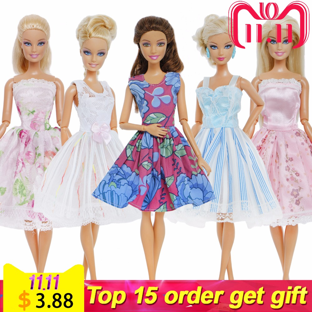 7c48daf1aa6b6 5 Sets/Lot Mixed Style Dress Daily Casual Wear Lace Wedding Party Gown  Princess Skirt Accessories Clothes For Barbie Doll Gift