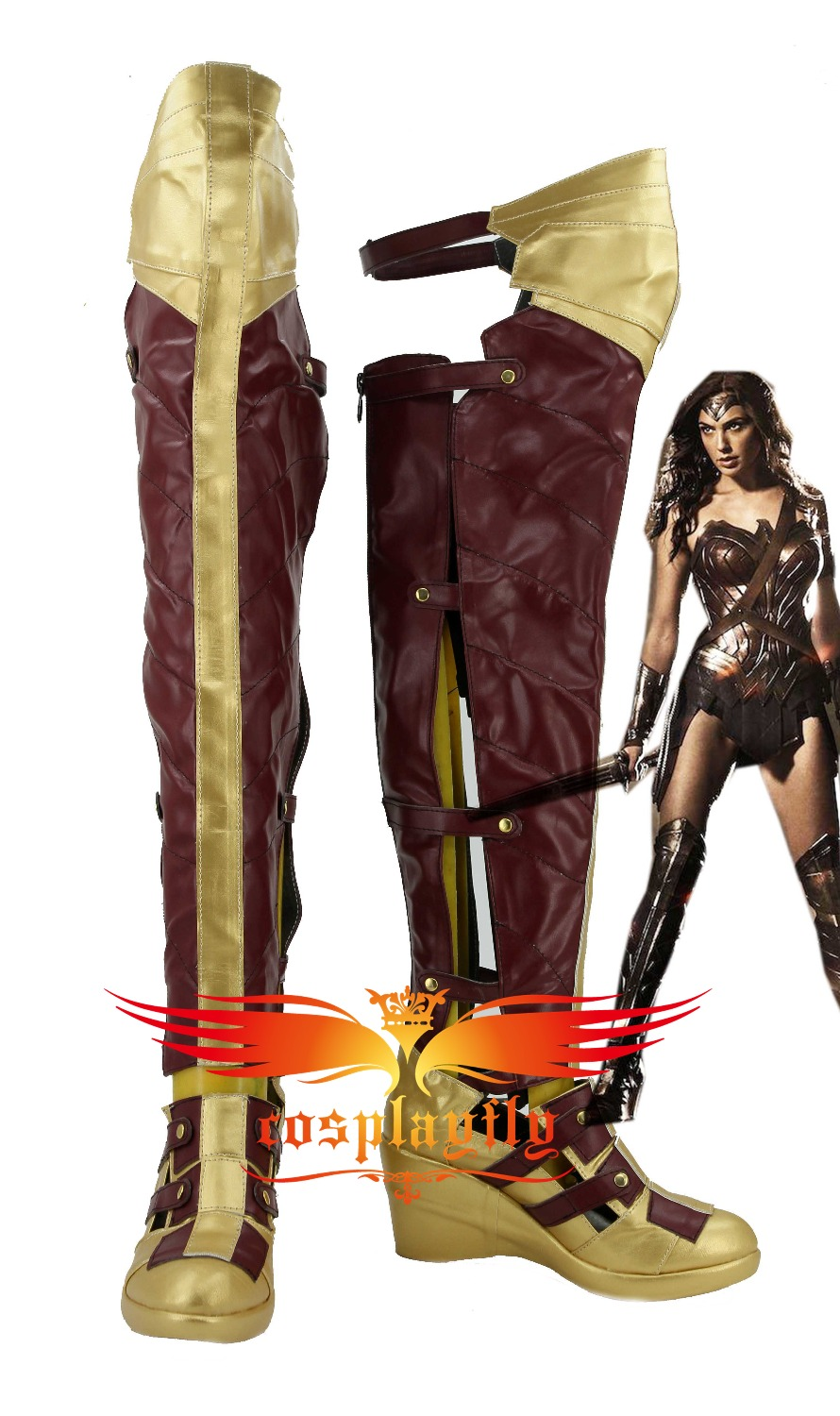 BatmanvSuperman:Dawn of Justice Wonder Woman For Adult Cosplay Costume Boots Shoes with 1.5-2m Rope