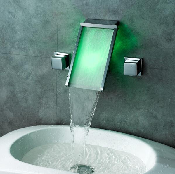 Cuivre cascade lavabo robinet mur monté, Trois trou Led évier bassin robinet chrome, Laiton salle de bains baignoire robinet pont
