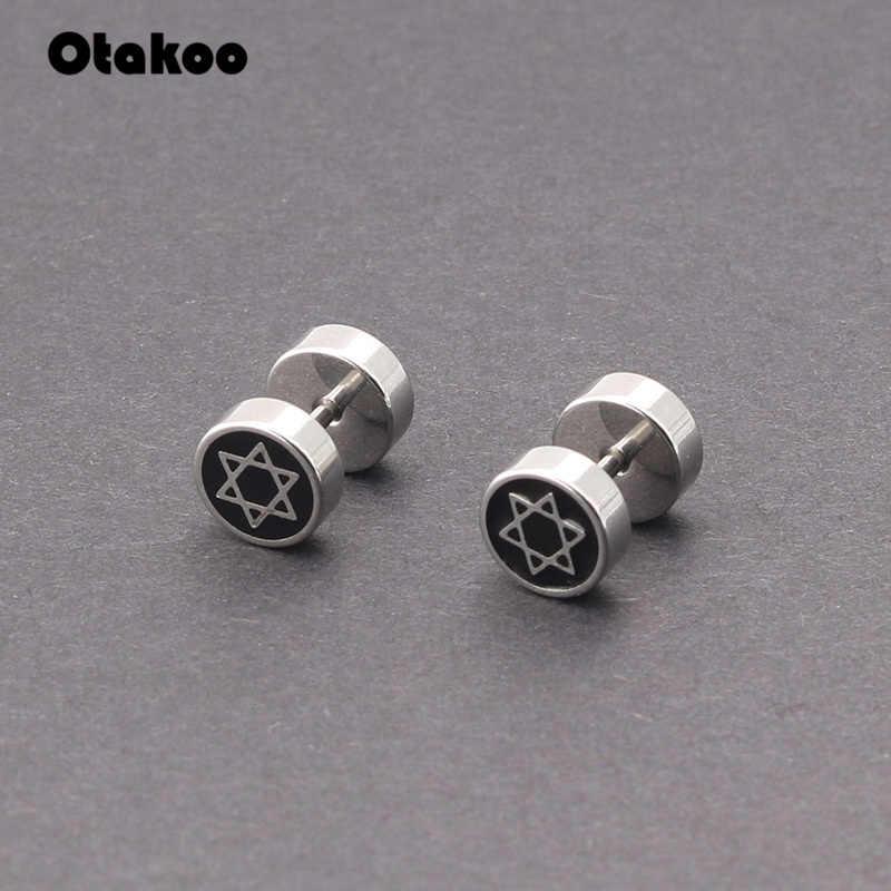 Otakoo 1 คู่หูเล็บกระดูก Barbell Star of David Studs ต่างหูเจาะสีดำสแตนเลสต่างหูสำหรับผู้ชายผู้หญิง