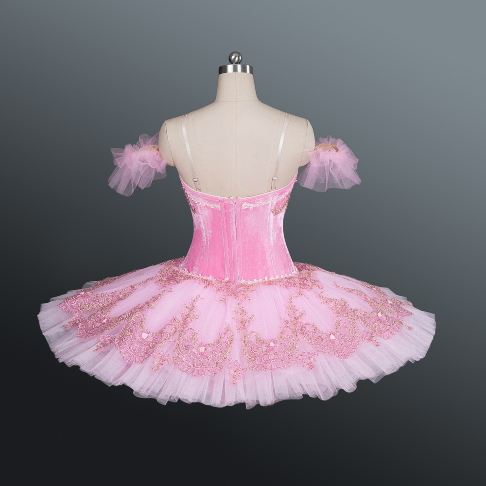 Professional Classical Ballet Nutcracker Tutu Pink Color Velvet Body With Lace Decoration Girls CSTD Costumes Sleeping  Beauty
