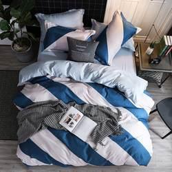 Listras azuis capa de edredão lençóis cama plana + fronha rei rainha completa único conjunto 3/4pcs conjuntos capa