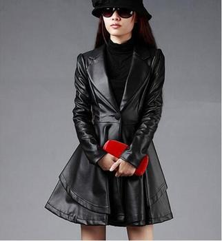 Leather Jacket Coat 2016 Fashion Simple Artificial Leather Big Fur Collar Skirt Leather Jacket Motorcycle Jacket European Style