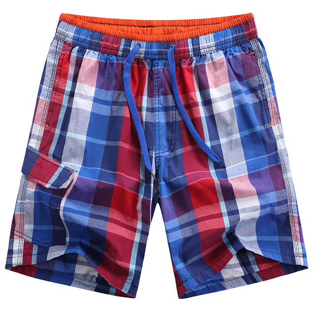 Summer Male fashion plaid shorts mens quick drying board shorts high quality cotton beach shorts brand swimwear trunks for men
