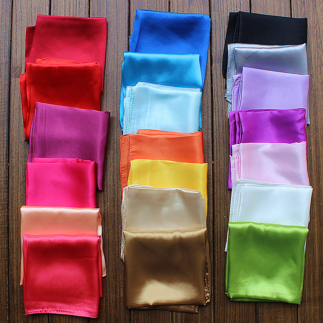 60x60cm Women Square Scarf Solid Pure Single Color Ladies Silk Satin Scarves Neck Tie 20 Colors Red Blue Grey