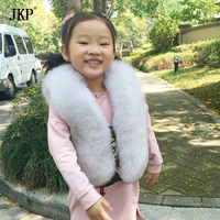 2017 Winter 100% Kids natural Fox Fur Vest Warm Children Fox Fur Vests for Fashion Baby Girls Jacket Outerwear