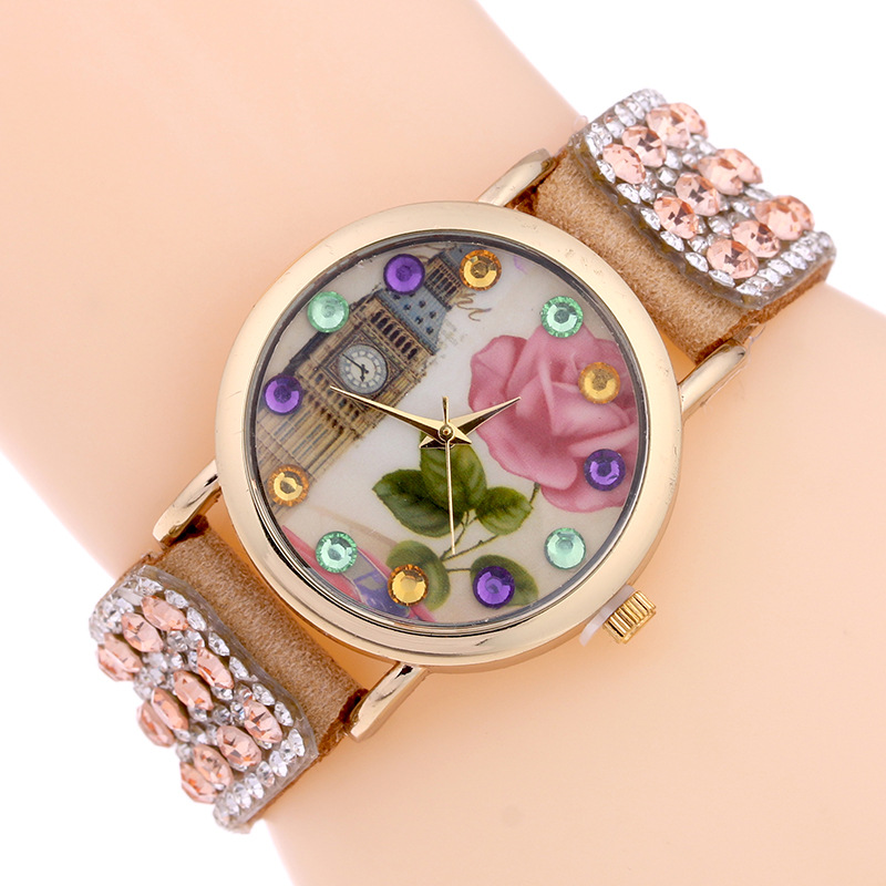 Dress Watch Womens Quartz Wristwatch Leather Bohemia Style Women Bracelet Watch Rhinestone Jelly Clock Relogio Feminino Gift