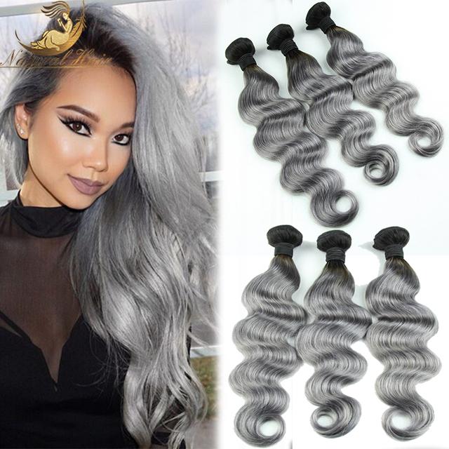 Chegada nova onda do corpo brasileiro 3 pçs/lote 1b do cabelo tecelagem ombre cinza prata/cinza dois tons humano Brasileiro Virgem extensões de cabelo
