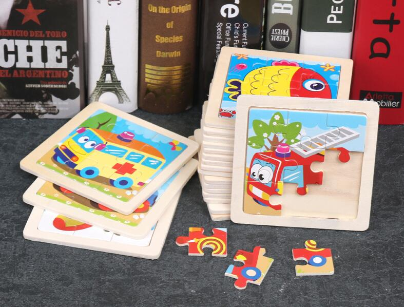 4PCS/lot 3D Wooden Jigsaw Puzzles for Children Kids Toys Cartoon Animal/Traffic Puzzles Baby Educational Puzles Wholesale GYH 3