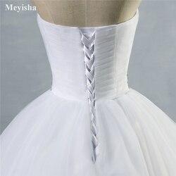 ZJ9040 2019 strapless diamond White Ivory formal Crystal Beads Wedding Dresses 2018 Bridal Dress plus size elegant wholesale 6