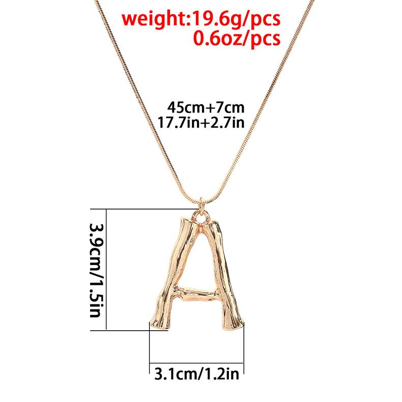 Alphabet Initial Letter Pendant Necklace Gold Color Snake Chain Necklaces for Women