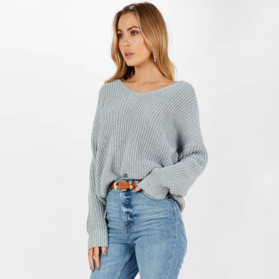 Knitted Lace Up Fashion Sweater Women Long Sleeve Top Wool Pullover Christmas Jumper Vintage Camisola Womens Clothing 60B0065