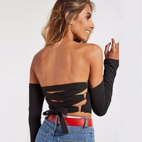 TAUPIN AM Back Lace Up Crop Top Off The Shoulder Women Tops Sexy Black T Shirt