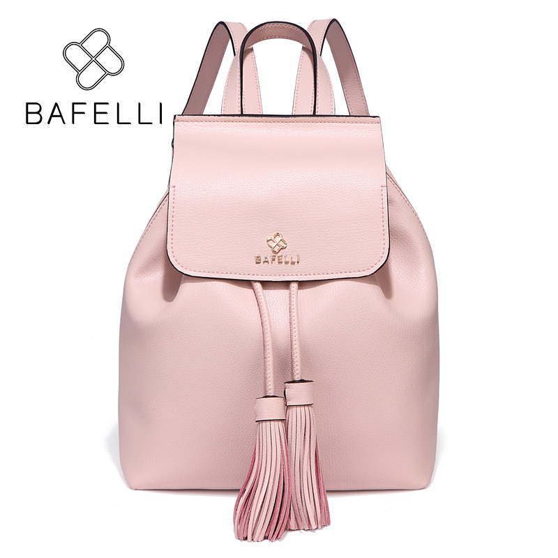 BAFELLI new arrival Genuine Leather drawstring backpack tassel mochilas mujer travel bag teenagers girls school backpack women 2018 new casual girls backpack pu leather 8 colors fashion women backpack school travel bag with bear doll for teenagers girls