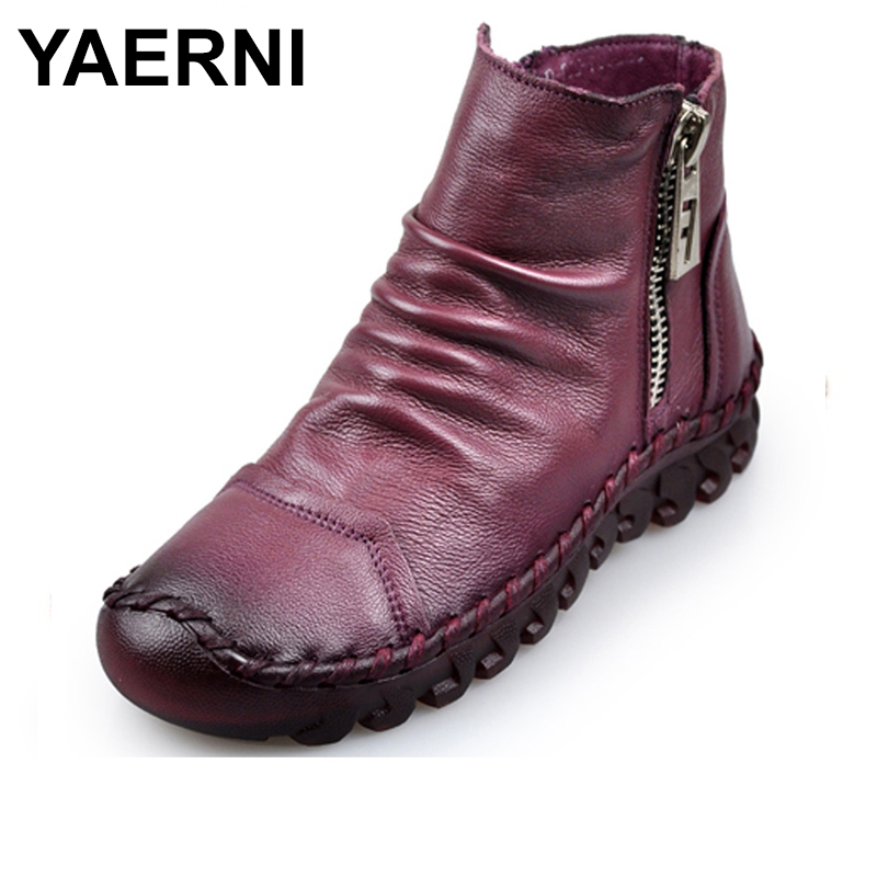 YAERNI 2018 Fashion Handmade Boots For Women Genuine Leather Ankle Shoes Vintage Women Shoes Round Toes Martin Boots E317 tastabo 2017 fashion handmade boots for women genuine leather ankle shoes vintage mom women shoes round toes martin boots
