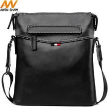 Awen Shaw High Quality Black Leather Messenger Bag For Men Solid Casual Business Man Cross Body Shoulder Bags