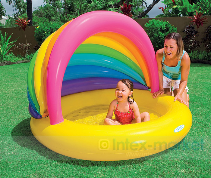 Baby Swimming Pool Eco-friendly PVC Portable Children Bath tub Baby pool inflatable rainbow with sun-shaded environmentally friendly pvc inflatable shell water floating row of a variety of swimming pearl shell swimming ring