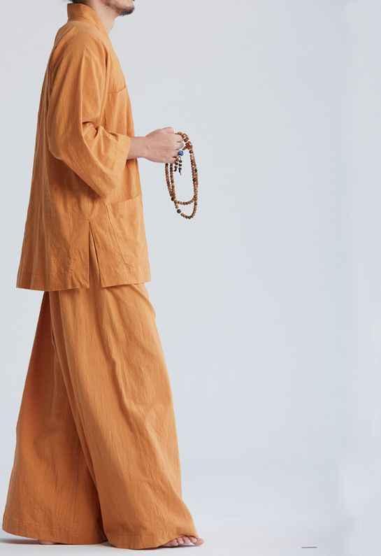 ユニセックス 4 色夏禅仏教僧侶半袖純粋な綿少林寺武術カンフー武道のスーツレイ瞑想制服
