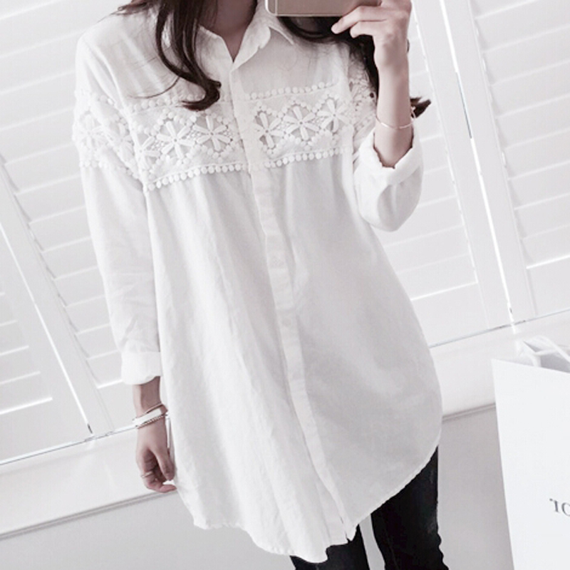 Korean Lace Patchwork Fashion Midi Loose Blouses Elegant Solid Full Sleeve Clothings Sexy Chic Button Casual blusas