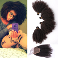 Mongolian Kinky Curly Hair With Closure 4 Bundles With Closure Afro Kinky Curly Hair Rosa Queen Hair Product with Closure Bundle