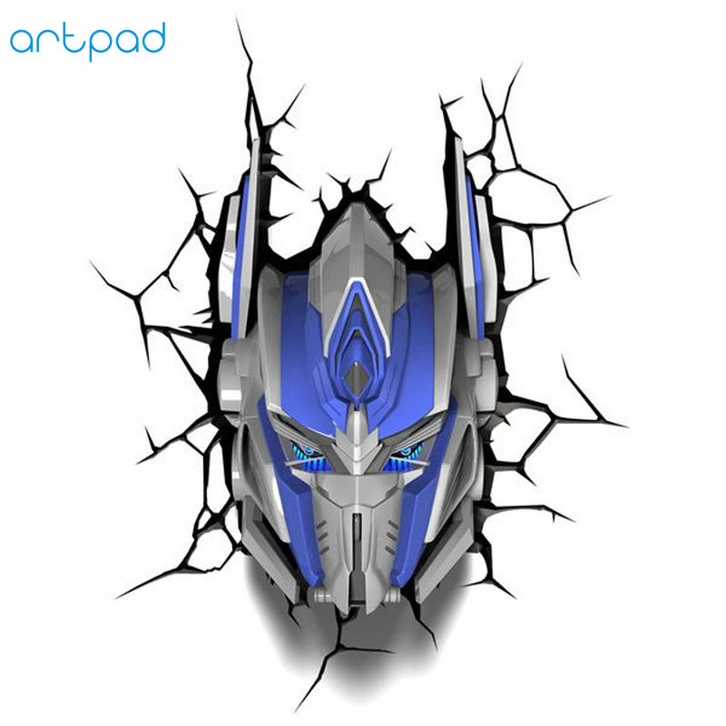 Artpad Creative Figure 3D Wall Sticker Light Transformers Optimus Prime Grimlock Bumblebee LED Indoor Wall Lamp For Kid Gift