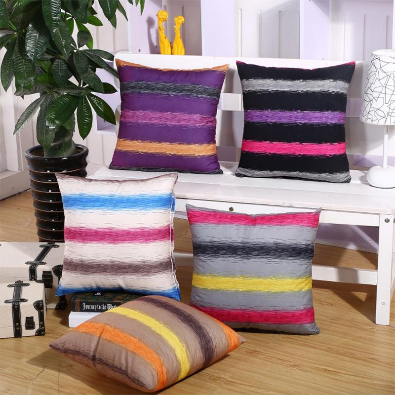 Ordinaire Coussin Colore Pas Cher #7: Pas Cher Coloré Rayé Polyester Housse De Coussin Home Office Canapé Carré  De Voiture Taie D