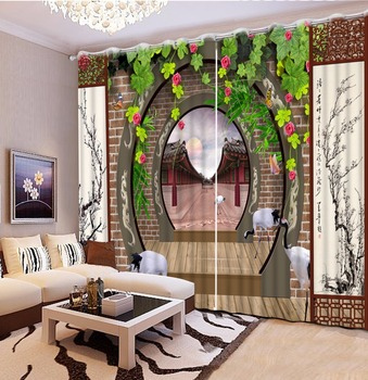 Chinese Luxury 3D Curtains Window Bedroom Drapes arch Printing Blackout Curtains Hotel Home Office Decoration Curtains