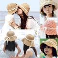 Summer Style Straw Beach Hats For Women Kids Sunbonnet Caps Wide Brim Sun Floppy Hats Free Shipping SDDS-013