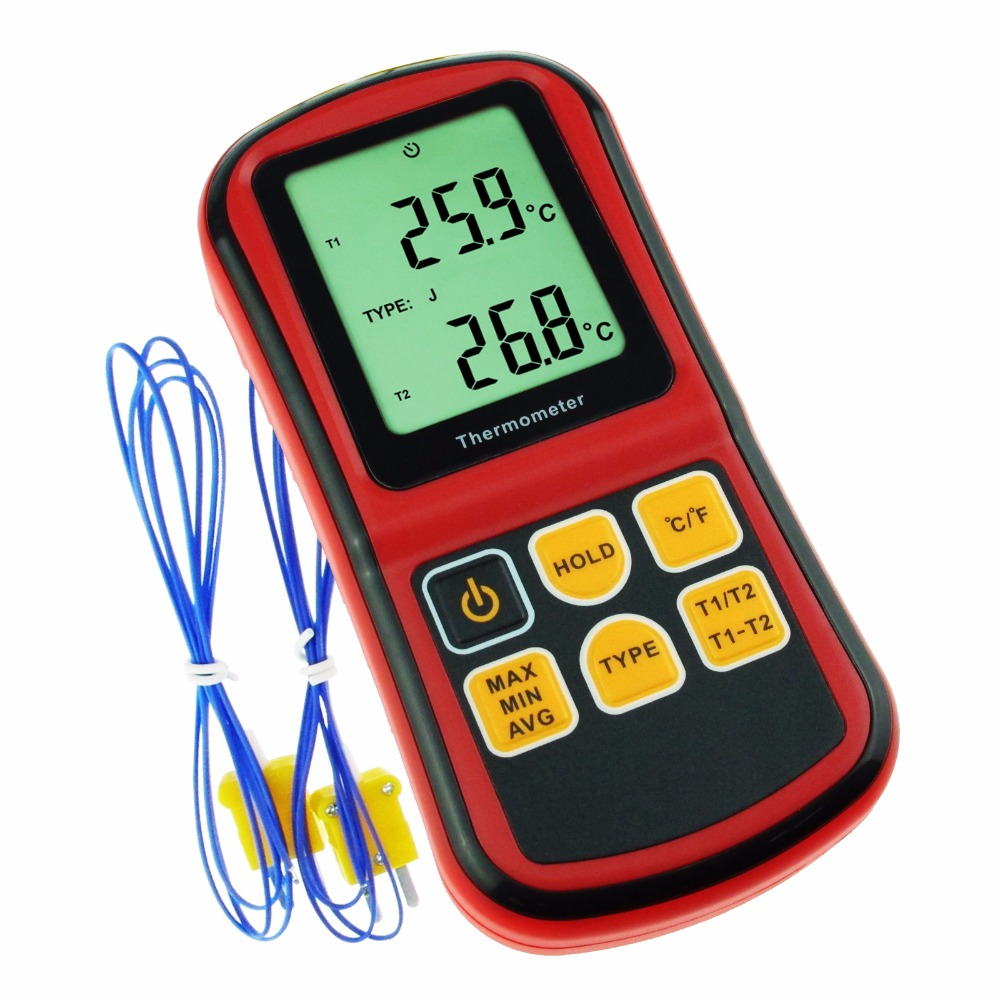 Digital K/J/T/E/R/S/N Type Thermocouple Thermometer Dual channel LCD Display 150~1767degC ATC Meter Accurate to +/ 0.1%+0.6degC