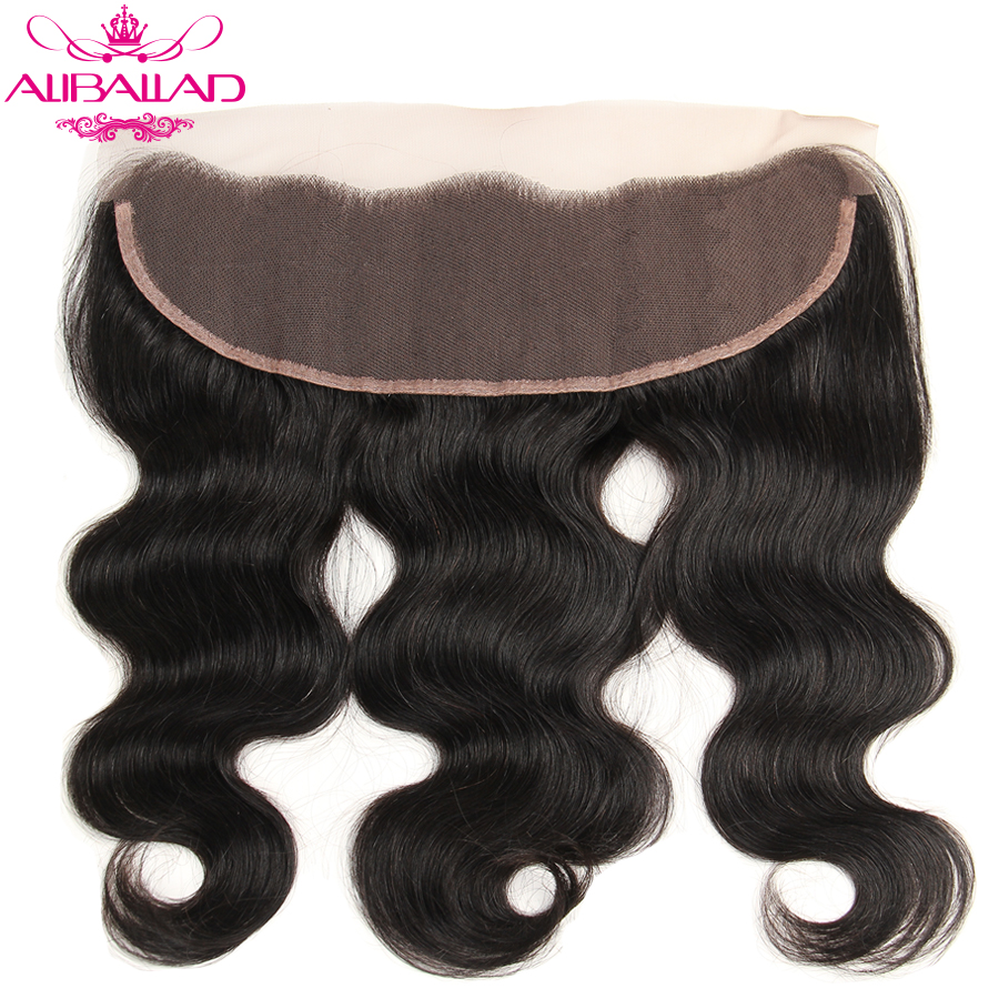 ALIBALLAD Brazilian Body Wave 13x4 Lace Frontal Non Remy Human Hair Bundles With Baby Hair Free