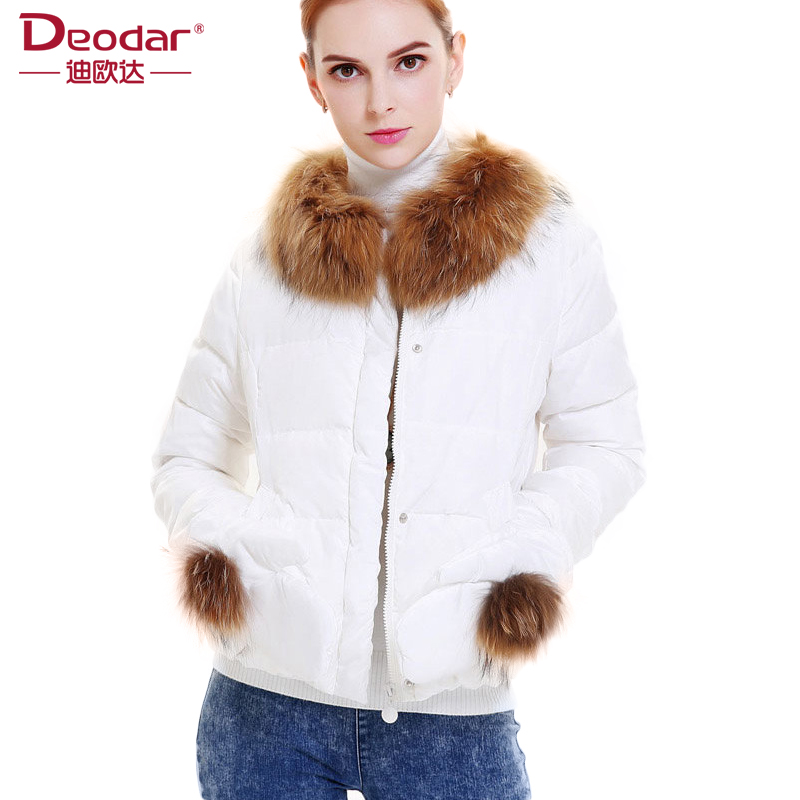 Deodar 2017 Women Spring Autumn Solid Real Raccoon Fur Collar 90% White Duck Down Coats Elegant Short Jacket With <font><b>Gloves</b></font> DX6110