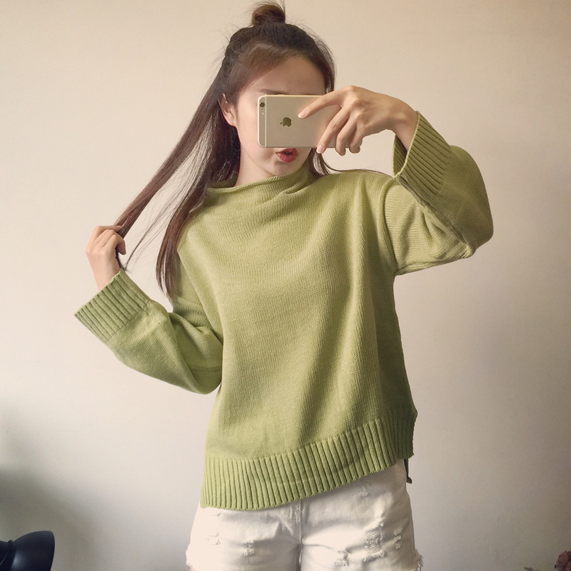 2016 font b Sweater b font Women Splice font b Sweater b font Irregular Bottoming Knit